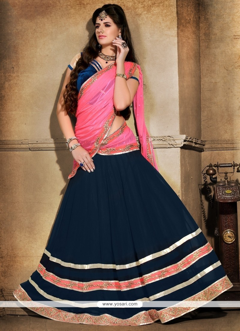 Praiseworthy Georgette Navy Blue And Pink A Line Lehenga Choli