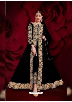 Black Latest Designer Heavy Embroidered Party Wear Front-Cut Anarkali Suit