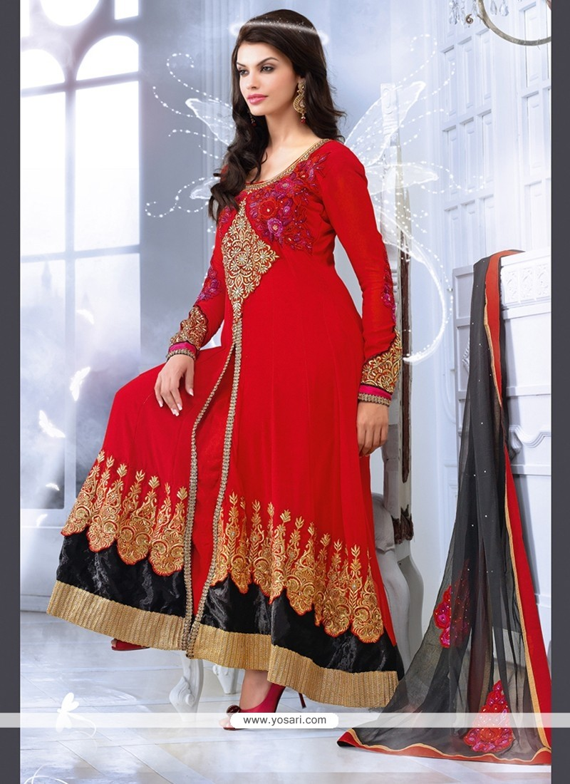 Deserving Red Zari Work Anarkali Suits