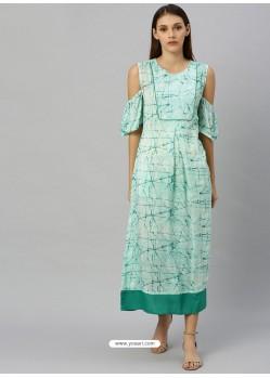 Sea Green Latest Designer Party Wear Kurti
