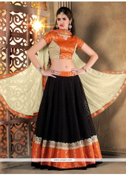 Versatile Black Patch Border Work Net A Line Lehenga Choli