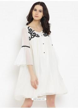 White Latest Designer Party Wear Kurti