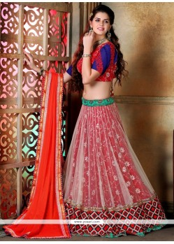 Charming Resham Work Red And Orange A Line Lehenga Choli