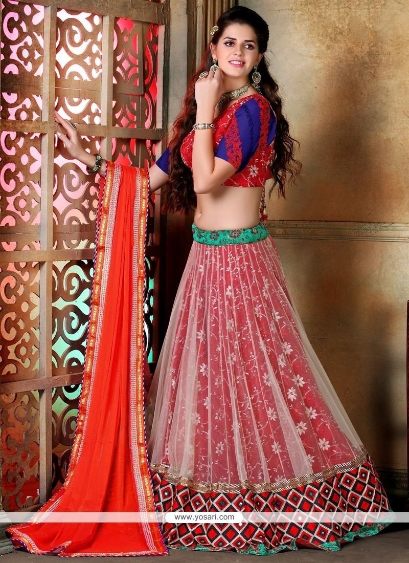 Charming Resham Work Red And Orange A Line Lehenga Choli