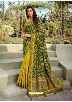 Forest Green Dazzling Designer Wedding Wear Silk Sari