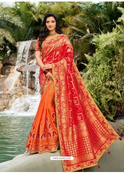 Red Dazzling Designer Wedding Wear Silk Sari