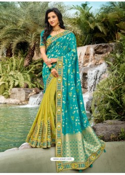 Turquoise Dazzling Designer Wedding Wear Silk Sari