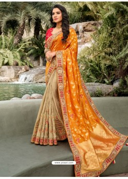 Orange Dazzling Designer Wedding Wear Silk Sari