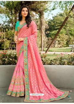 Pink Dazzling Designer Wedding Wear Silk Sari