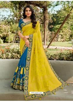 Blue Dazzling Designer Wedding Wear Silk Sari