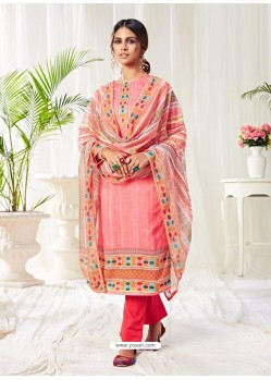Peach Designer Party Wear Cotton Palazzo Suit