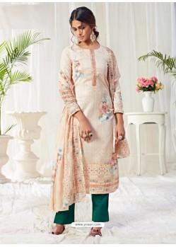 Off White Designer Party Wear Cotton Palazzo Suit