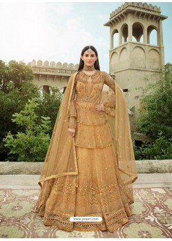 Beige Latest Designer Heavy Embroidered Party Wear Anarkali Suit