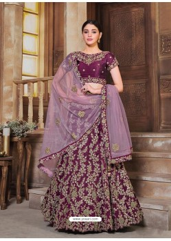 Deep Wine Designer Heavy Embroidered Wedding Lehenga Choli
