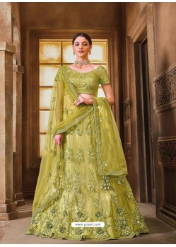 Parrot Green Designer Heavy Embroidered Wedding Lehenga Choli