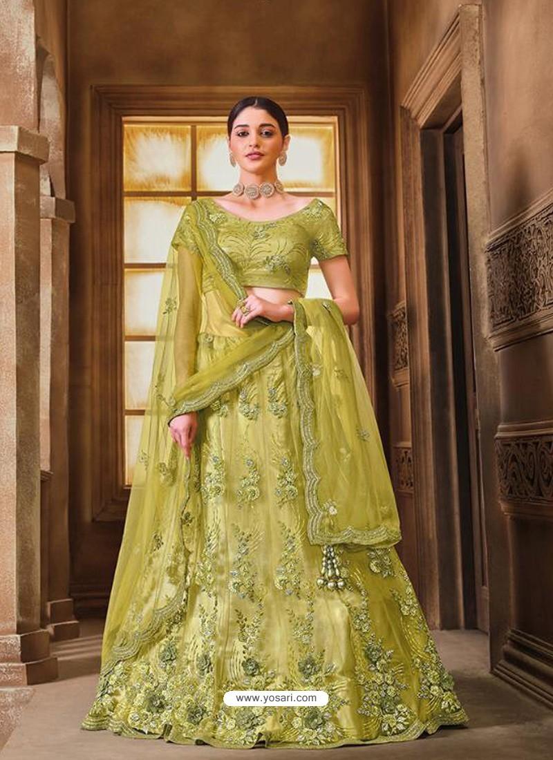 Parrot Green Designer Heavy Embroidered Wedding Lehenega Choli