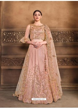 Dusty Pink Designer Heavy Embroidered Wedding Lehenga Choli