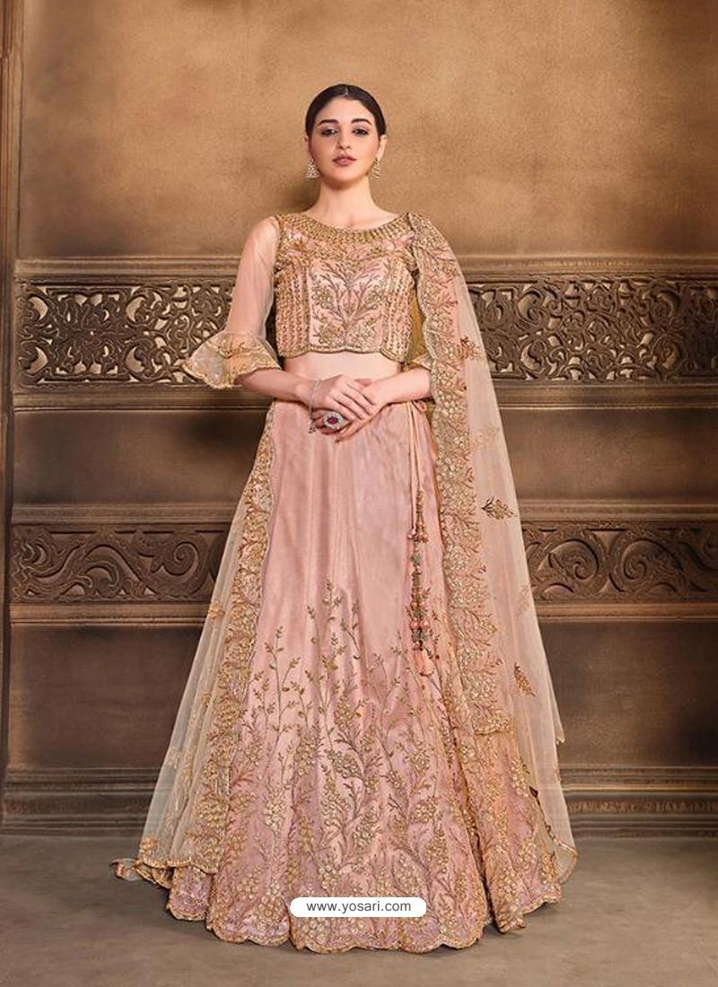Dusty Pink Designer Heavy Embroidered Wedding Lehenega Choli