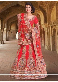 Vivid Embroidered Work Raw Silk A Line Lehenga Choli