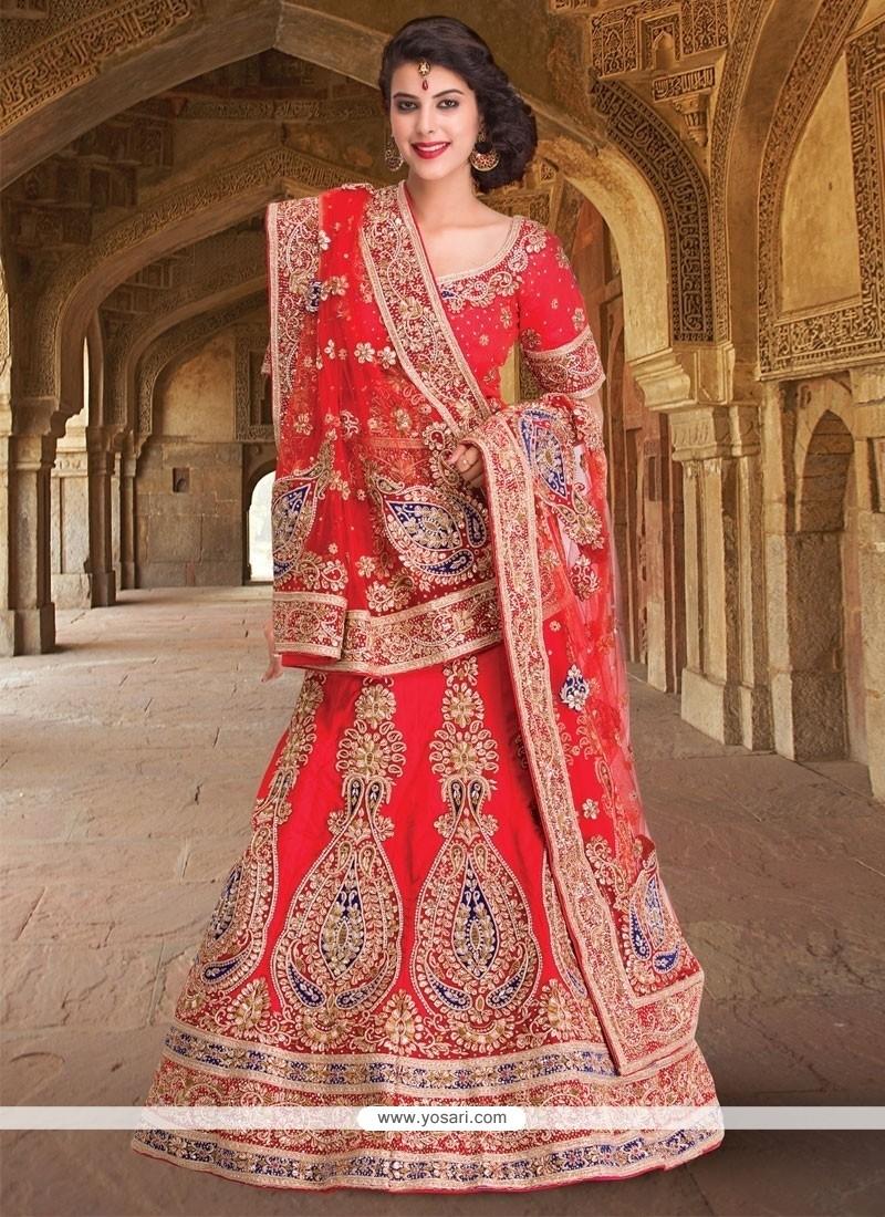 Vivid Embroidered Work Raw Silk A Line Lehenga Choli