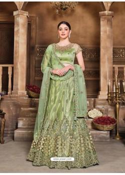 Green Designer Heavy Embroidered Wedding Lehenga Choli