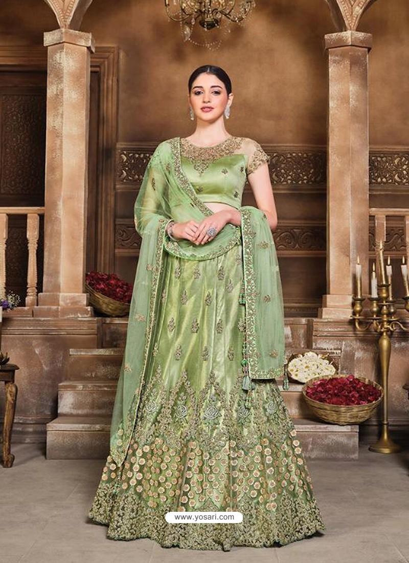 Green Designer Heavy Embroidered Wedding Lehenega Choli
