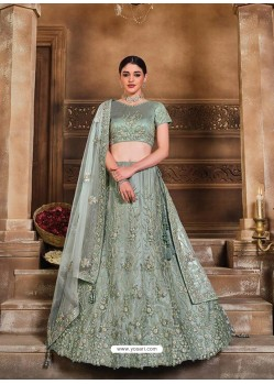 Grayish Green Designer Heavy Embroidered Wedding Lehenga Choli