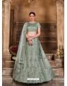 Grayish Green Designer Heavy Embroidered Wedding Lehenega Choli