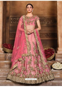 Pink Designer Heavy Embroidered Wedding Lehenga Choli