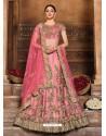Pink Designer Heavy Embroidered Wedding Lehenega Choli