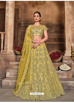 Corn Designer Heavy Embroidered Wedding Lehenga Choli