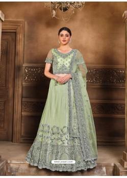 Sea Green Designer Heavy Embroidered Wedding Lehenga Choli