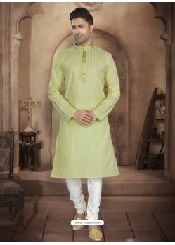Green Readymade Designer Party Wear Kurta Pajama For Men