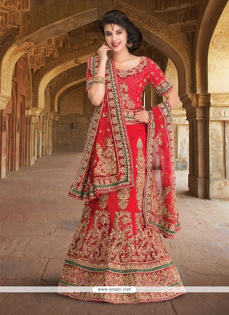 Delectable Embroidered Work Net A Line Lehenga Choli