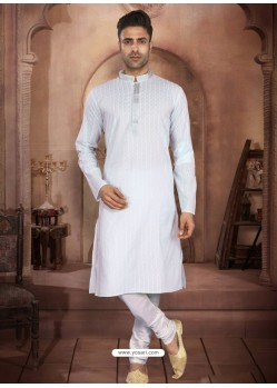 White Readymade Designer Party Wear Kurta Pajama For Men