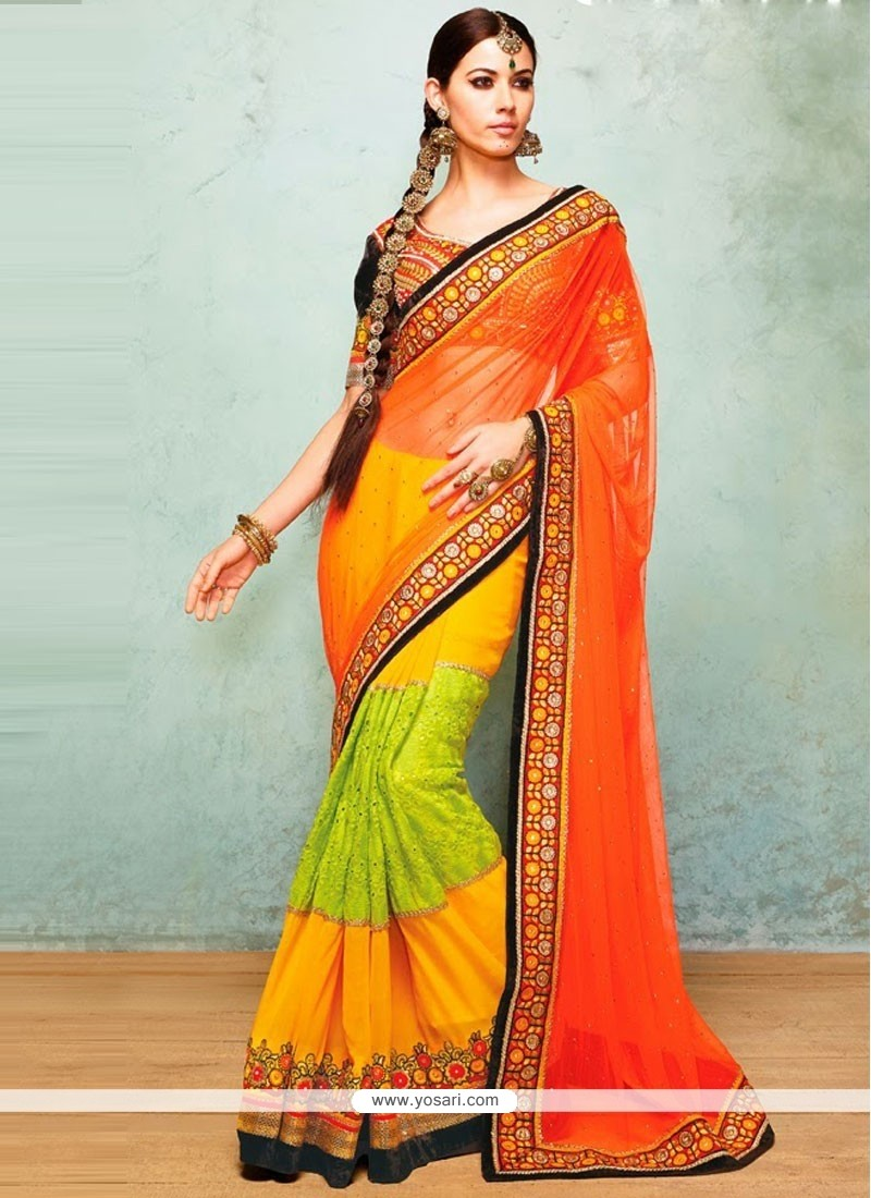 Bedazzling Multicolored Faux Georgette And Net Saree