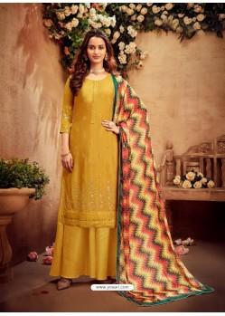 Yellow Designer Party Wear Pure Viscose Chinnon Chiffon Palazzo Suit