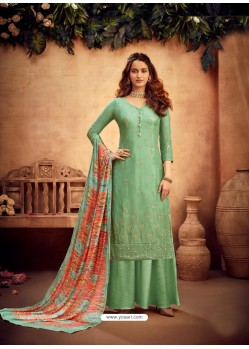 Sea Green Designer Party Wear Pure Viscose Chinnon Chiffon Palazzo Suit
