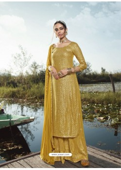 Yellow Designer Party Wear Heavy Georgette Palazzo Suit