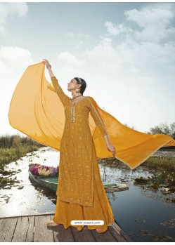 Mustard Designer Party Wear Heavy Georgette Palazzo Suit