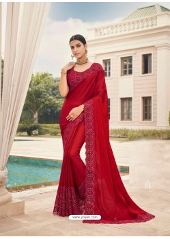 Red Designer Party Wear Satin Georgette Sari
