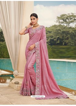 Pink Designer Party Wear Satin Georgette Sari