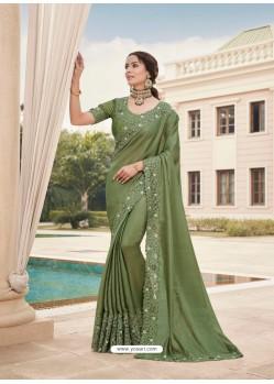 Mehendi Designer Party Wear Satin Georgette Sari