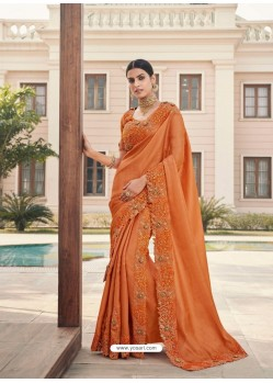 Orange Designer Party Wear Satin Georgette Sari