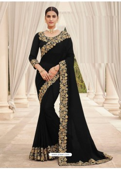Black Designer Party Wear Satin Georgette Sari