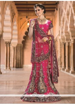 Flamboyant Magenta Embroidered Work A Line Lehenga Choli