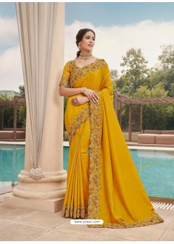 Yellow Designer Party Wear Satin Georgette Sari