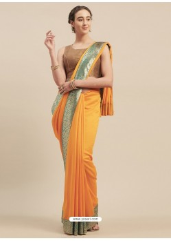 Yellow Designer Party Wear Georgette Sari