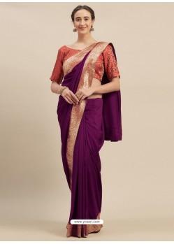 Purple Designer Party Wear Georgette Sari