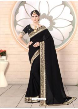 Black Designer Party Wear Vichitra Bloming Silk Sari